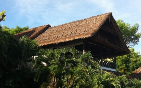 The traditional Bali villa roof